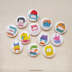 "Set of 12 - A Series of My Characters 1.75"" (44mm) Button Badge - Encouragement Love Birthday Friendship Pin Bdage - Happy Pinning on Etsy, $18.00"
