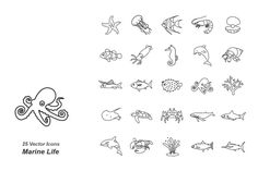 Marine Life outlines vector icons by Jisun Park on @creativemarket
