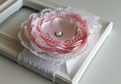 White and pink Baptism Lace silk Flower by mariajosemonsegur, $12.00