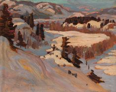 """Baie-Saint-Paul"" by Alexander Young Jackson, 1923 Impressionist Landscape, Landscape Art, Landscape Paintings, Oil Paintings, Winter Landscape, Landscapes, Group Of Seven Art, Group Of Seven Paintings, Canadian Painters"
