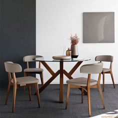 Mikado Table by Connubia Calligaris. This beautiful table features two large round glass tops with a unique angular wooden leg base. Inspired by Japanese architecture, this is a dining table for those looking to create a designer statement. Round Dining Room Sets, Glass Round Dining Table, Modern Dining Table, Dinning Table, Table And Chairs, Dining Chairs, Round Glass, Round Tables, Dining Set
