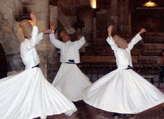 The Whirling Dervishes are a sect of Islam taught to love everything. They dance while the musicians play. The Dervishes allow outsiders to view their religious ceremony.