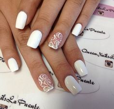 simple white acrylic nail design
