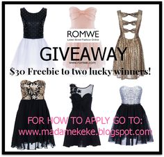 ROMWE GIVEAWAY: Two can win a $30 Gift Card! - INTERNATIONAL . Party in style during the holidays!  #giveaway #fashion