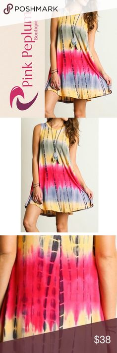 """❗️LAST❗️Fuschia yellow tie dye print boho dress This dress is perfect for summertime!  It has a cute fit and a flowy body, pair with your favorite gladiator sandals.  Made in USA.  Material: 96%rayon,4% spandex  Measurements:  Small Armpit to Armpit: 19.5"""" Length: 35.5""""   Medium Armpit to Armpit: 20"""" Length: 36""""    Large Armpit to Armpit: 20.5"""" Length:36"""" Pink Peplum Boutique Dresses Mini"""
