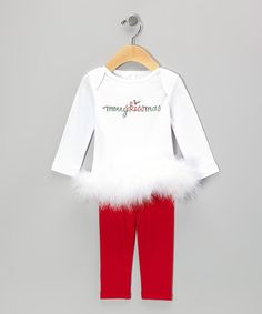 Love this White 'Merry Kissmas' Tunic & Red Leggings - Infant by Truffles Ruffles on #zulily! #zulilyfinds