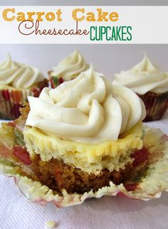 Carrot Cake Cheesecake Cupcakes | crazyforcrust.com | #carrotcake #cheesecake