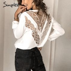 Simplee Sexy embroidery lace mesh white women blouse shirt Elegant back hollow out long sleeve female tops Ladies v neck tops Cheap Blouses, Shirt Blouses, Blouses For Women, Shirts, Backless Shirt, Winter Fashion Outfits, Summer Outfits, Fashion Clothes, Short Tops