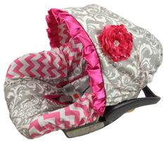 Grey Damask/Pink Chevron Infant Car Seat Cover - most of the car seats I see are so ugly, a cover would fix that.