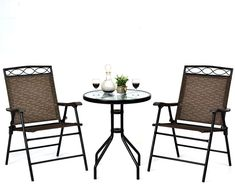 Patio furniture will extend your fun and relaxation time to your outside space. Within the key pieces, you can find for a patio, patio chairs are the number one and essential to have. Even if you don't have a table, a patio chair will always allow you to chill and enjoy the sun outdoors. And maybe invite some company over to sit down and talk. Outdoor Folding Chairs, Outdoor Tables And Chairs, Outdoor Dining Furniture, Patio Furniture Sets, Table And Chair Sets, Patio Table, Dining Table Chairs, Patio Chairs, A Table
