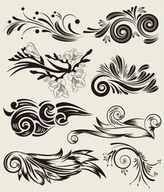 Vector Set of Beautiful Floral Elements Free - Free Vector Site | Download Free Vector Art, Graphics