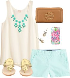 Summery by classically-preppy featuring j crew earrings ❤ liked on PolyvoreH&M white silk tank, $40 / J.Crew shorts / Jack Rogers slip on leather sandals / Tory Burch  wallet / Silver tone jewelry / J.Crew j crew earrings / Lilly Pulitzer tech accessory