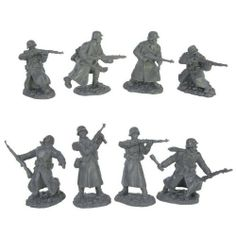 WWII Longcoat German Infantry Plastic Army Men: 16 piece set of 54mm Figures - 1:32 scale by TSSD. $24.49. Packaging: Plastic Bag with Header Card. Scale: Approximatly 1:35. Color: Dark Gray. Size: Up to 2.4 inches tall (54mm). WWII German Infantry in Longcoats Soldiers by TSSD. WWII 'Longcoats' German Infantry set #4 from Toy Soldiers of San Diego. Set includes 16 Troops in 8 poses that stand up to 2.4 inches tall (54mm) and approximately 1:32 scale. Highly detailed...