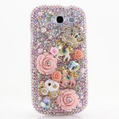 Samsung Galaxy Note Edge S6 S5 S4/ All iPhone Model / Handcrafted Case 3D Luxury Bling Crystal Sparkle AB Pink Rose Princess Fairy Tales_468