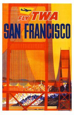 Vintage Travel Poster  California TWA  David Klein
