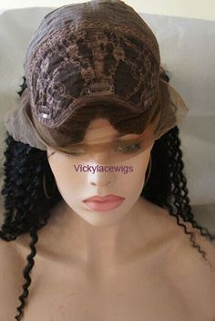 u part wig,U Shaped lace wigs Kinky curly 18 inch color #1 with baby hair, bleached knots, natural hairline, standard 120% density.