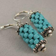 Prayer wheel earrings in turquoise by yellowplum beads, Earrings
