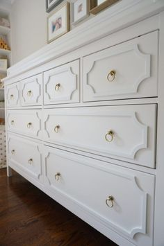 "Why pay over $1300 for a look you can achieve with O'verlays for less than half the cost? Inspired by Pottery Barn, Cindy ""hacked"" her Ikea Hemnes with Anne O'verlays to suit her nursery needs in a budget-friendly way!"