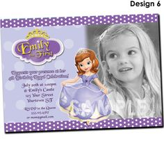 Sofia the first invitation printable birthday party invite sofia the first invitation printable birthday party invite custom personalized digital photo card 4x6 filmwisefo Images