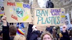 Climate Change and Plastics Protest Signs