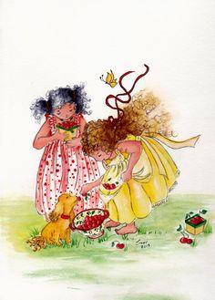 Original Watercolor Painting Best Friends by Suzy Waldo