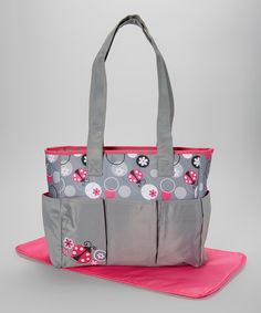 636e198861c0a6 Look at this Gray & Pink Ladybug Triple-Pocket Tote Diaper Bag on #