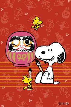 Snoopy, Woodstock and Friend Painting a Japanese Lantern