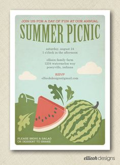 rustic watermelon bbq picnic invite PRINTABLE by ellieohdesigns, $15.00