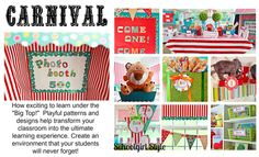 Cute room decorations. I like the idea of the photo booth and the bulletin board.    Carnival Classroom Theme School Girl Style