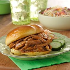 Slow cooker pulled pork recipe with Knorr concentrated stock.  I made it for Superbowl.  Deeeeelish.