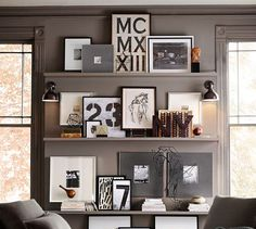 Not every piece of art needs to be hung on the wall. Lean pieces on floating shelves, in book cases, atop mantle pieces, or even the floor. #pictureframe #gallerywall