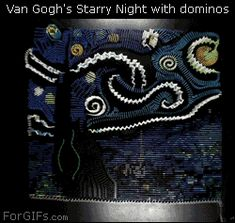Dominoes falling in the form of Vincent Van Gogh& Starry Night Vincent Van Gogh, Claude Monet, Cassandra Calin, Wow Art, Illustrations, Optical Illusions, Mind Blown, Artsy Fartsy, Amazing Art