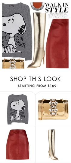 """""""Current Autumn Trends: Metallic Knee High Boots"""" by simplynatonya ❤ liked on Polyvore featuring Princess Goes Hollywood, GEDEBE, Sandro, GUESS, Urban Decay, gold, red, metallicshoes, graphicsweater and Kneehighboots"""