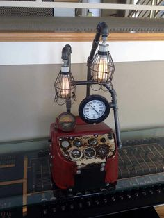 Steampunk Lamp Unique Industrial Antique Tractor Dash Machine Age Art Vintage!