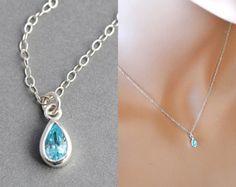 Check out Aquamarine Necklace, Dainty Birthstone Necklace, Sterling Silver Necklace, March Necklace, Aqua Blue, Everyday Jewelry on malizbijoux