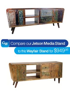 """Our #LooksForLess is the Jetson Multicolor Media Unit.  This artistic, urban media unit is constructed from solid resurfaced hardwood. It features two shelves, two drawers, and two doors for additional storage. Plus, each piece has a slight color variation in the resurfaced solid wood, giving you that unique furniture you've been waiting for.  Save $350 compared to this similar one from Wayfair.  Pin it today!  Measurements: 72""""W x 18""""D x 30""""H"""