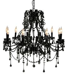 Love this Black Iron & Glass 10-Bulb Chandelier on #zulily! #zulilyfinds