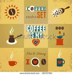 Coffee Theme Set. Vector illustration, eps10