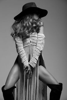 A very 2014 boho, not as timeless as most images posted here, but fun and chick.(SHE WAS) DJANGOED | Denisse M Vera Macrame Jacket http://www.denissemvera.com/collections.html + @lackofcoloraus hat + @gucci booties  http://www.denissemvera.com/collections.html #bohemian ☮k☮ #boho #SS14