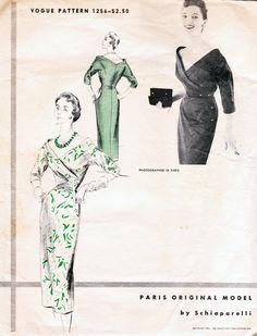 Schiaparelli - Vogue Paris Original 1256 - 50s wiggle dress vintage sewing pattern – Bust 34