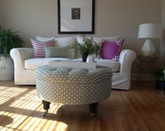 Custom Round Ottoman Size, Your Fabric & Style... by Custom Ottoman Designs