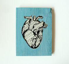 Blue, Black and White Anatomical Heart Art - Antique Sheet Music - Salvaged Material - Original Art - Handmade Art - Hymnal - True Love by eightyacresart on Etsy