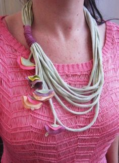 recicled t-shirt necklace $12