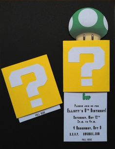 "** Mario Invitation - click on the words ""this tutorial"" for instructions on creating a double slider card."