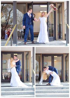 Salt Lake Temple wedding exit and kiss on LDS Bride Blog