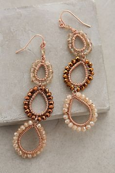 "Beaded Lochan Earrings #anthropologie Glass, metal Imported 3""L, 1""W Style No. 34171967"