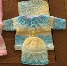 Keep the little ones in your life warm with these Premature Baby Sets. These adorable free knitting patterns for babies are perfect last minute homemade gifts for the newborn that could not wait to enter the world. These patterns use with a combination of Baby Cardigan Knitting Pattern Free, Knitted Baby Cardigan, Knit Baby Sweaters, Baby Knitting Patterns Free Newborn, Cardigan Pattern, Knitting For Charity, Knitting For Kids, Easy Knitting, Preemie Clothes