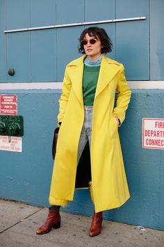 Yellow coat at fashion week