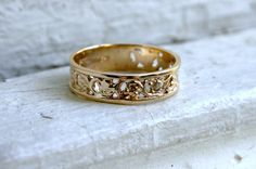 Lovely Vintage Floral Scroll 10K Yellow Gold Wedding by GoldAdore