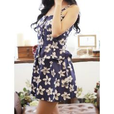 Flouncing Design Sleeveless Backless Floral Print Wide Hem Strap Suit For Women